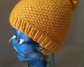 Mustard Yellow Thick and Thermal Handknit 100% Wool Insulated Toque Hat Small