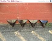 HUGE SALE set of 4 vintage black metal industrial triangular wall pocket hanging baskets planters