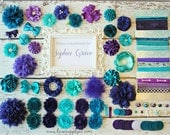 Teal and Purple - Baby Shower DIY Headband Making Kit - Peacock Mermaid First Birthday Party - Headband Station - MAKES 10 or 25+ HEADBANDS!