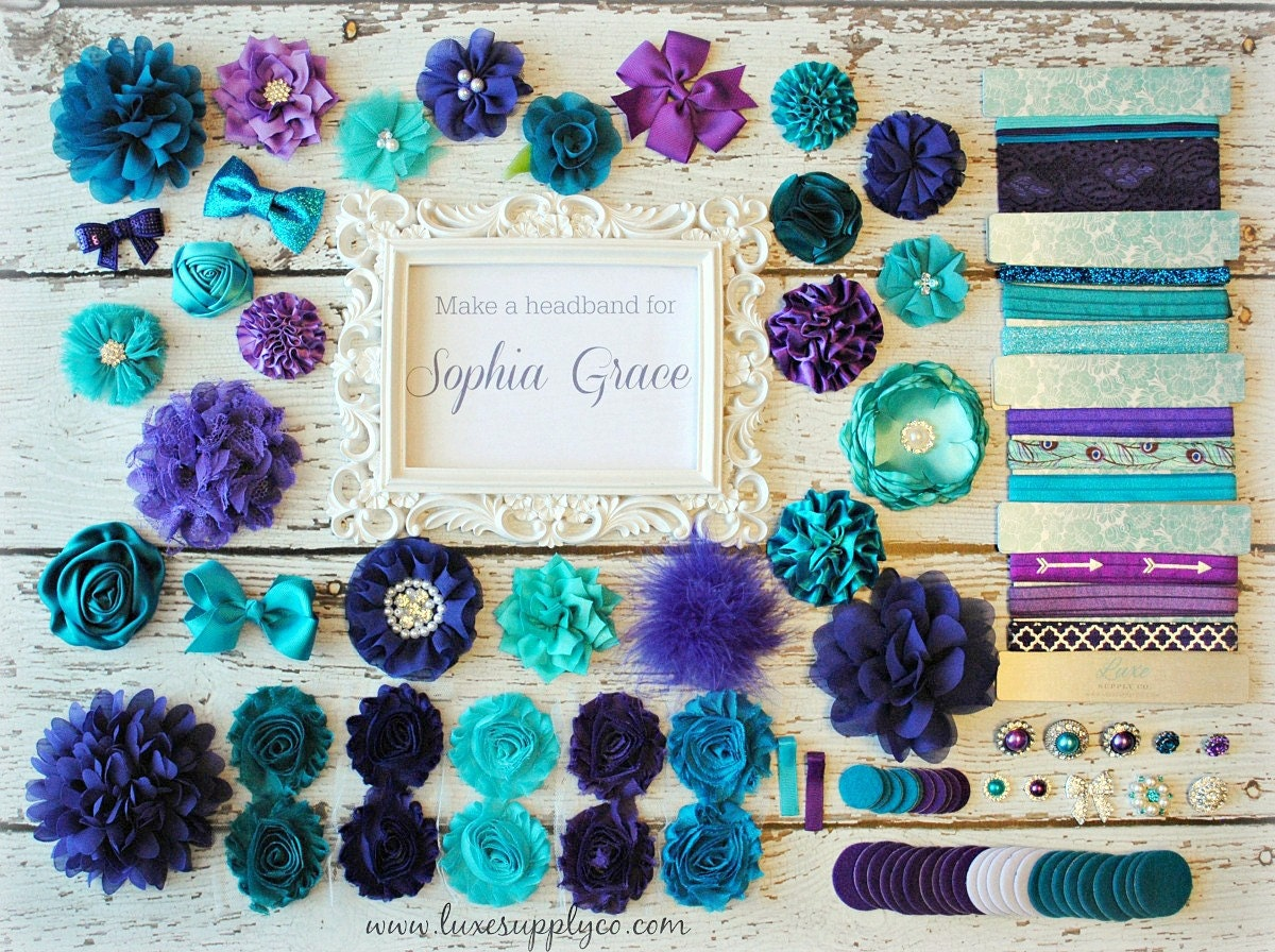 teal and purple baby shower diy headband making kit