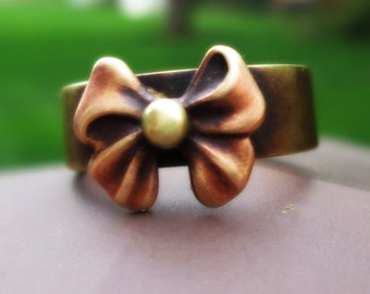 Bow Ring Recycled Novelty Eco Friendly Geekery Rustic Brass Gold Knot Sterling Silver Balls Metalsmith Mixed Metal Jewelry Handmade Senobar