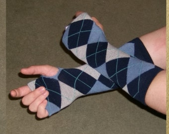 Blue Argyle Cute Fingerless Glove Arm Warmers