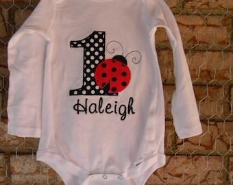 Ladybug First Birthday bodysuit or Shirt