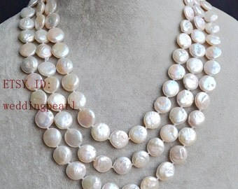 long coin pearl necklaces, 59 inch ivory pearl necklaces, 12-13mm freshwater pearl necklaces, ivory coin pearl necklace, pearl long necklace