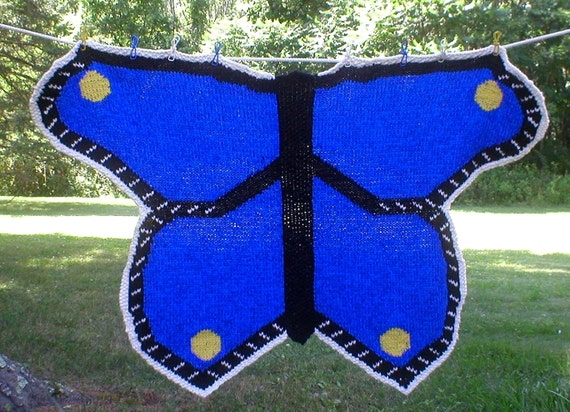 Knitting Pattern-Butterfly Baby Blanket, knit butterfly baby blanket afghan throw pattern, Cascade Eco+, PDF pattern