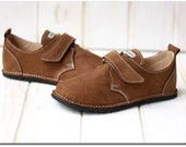 Sale 20% off Brown shoes, leather lining, Vibram sole, velcro fastening, support barefoot walking, sizes EU 29 to 36 - US 11.5 to 5.5