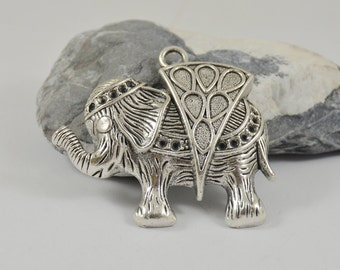Charm elephant pendants Antique Silver Victorian Pendants Connector Beads ----- 46mmx58mm ----- One Piece-- 2H