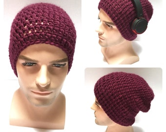 BUY1GET1HALFPRICE,Designer mans/mens/unisex hand crocheted/knitted oversized guy,slouch beanie snood hat,wine chunky gaming hat