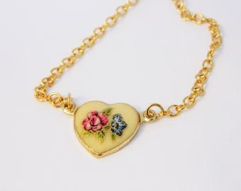 Vintage Pink and Blue Floral Heart Bracelet