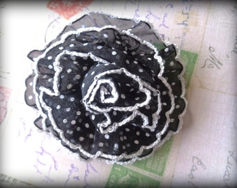 """Polka Dot Carnation Brooch Applique, Black, 3"""" inches,  x 1, ForApparel, Accessories, Costumes, Mixed Media, Romantic Crafts"""