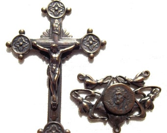 Catholic Rosary Set with Trinity Circle Points Crucifix and Passion of Christ Centerpiece Center