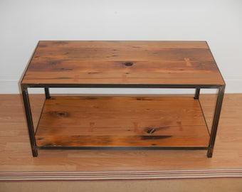 Reclaimed Wood and Welded Steel Coffee Table / Industrial / Salvaged Wood / Modern / Minimalist