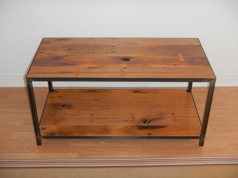 Reclaimed Wood And Welded Steel Coffee Table Industrial