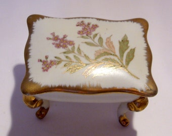 Large Porcelain Limoge Style Covered Box on Legs with Gold and Floral Motif