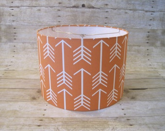Lamp Shade Drum Lampshade Pendant Geometric Arrows Orange and White