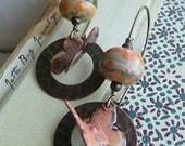 Time Flies earrings- peachy orange enamel butterflies. artisan lampwork beads. brass hoops. boho butterfly earrings. Jettabugjewelry