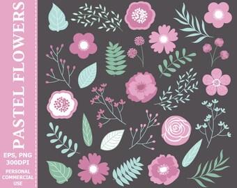 50% OFF SALE Digital Pastel Floral Clip Art - Purple, Leaves, Flowers, Wedding, Pastel, Blossoms Clip Art