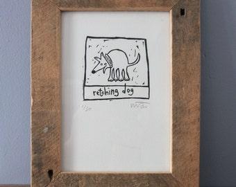 Lino Print - Retching dog