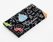 Black Card Holder, Cute Mini Wallet, Business Card Case, Gift Card Case, Small Wallet Back to School - colorful math in black