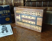Vintage English Travel Wood Marquetry Cribbage Game Board // Vintage Leeds Metro Playing Cards ~ 2 Jokers