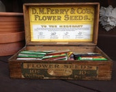 Antique 1906 D M Ferry & Co's. Flower Seeds Original Oak Advertisement Storage General Store Display Box