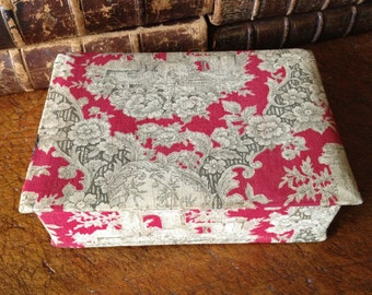 French Fabric Boudoir Box, Toile de Jouy Red and Gray, Jewelry Vanity Case, Holiday Gift Box
