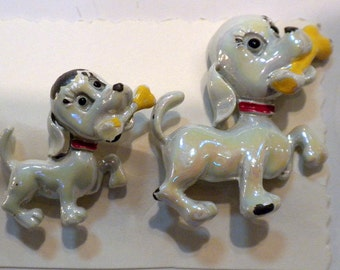 Duo Puppy Brooches Iridescent White Enamel  Shabby Chic
