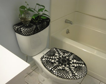 Set Of 2 Crochet Covers For Toilet Seat U0026 Toilet Tank Lid, Cozies   Black