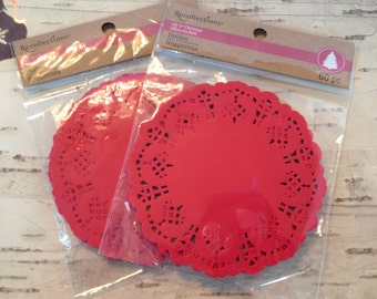 60 RED Paper Doilies 4.5 inch / Round Red Paper Doilies for Altered Art, Mixed Media, Cards, Gift Wrap, Crafts, Etc.