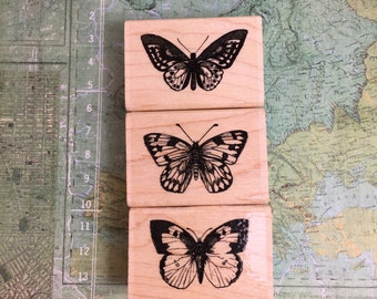 3 Butterfly Rubber Stamps by Hero Arts / NEW Butterfly Stamps for Altered Art, Tags, MIxed Media, Bags, Crafts, Cards, Etc.