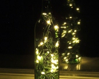 Green Wine Bottle Light with White plug-in Lights