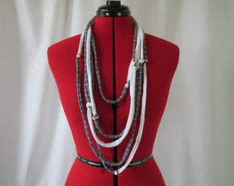 Grey and White T-Shirt Necklace - Eco Jewelry