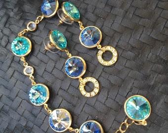Swarovski Crystal Rivoli Earrings (Denim, Lt. Turquoise)