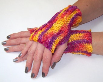 Fingerless Glove Arm Warmers Fashion Gloves- Light Weight Multi Colored Acrylic Crocheted