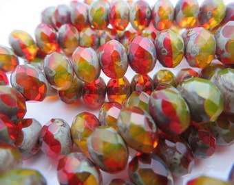 Back in Stock!  Summer Campfire Ruby and yellow with orange Faceted 8x6 mm Czech Rondelles  CHOOSE QUANTITY  2, 6 OR 12