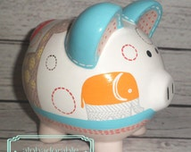 Artisan hand painted ceramic personalized piggy bank ~  Organic Safari Animals elephant giraffe, turtles
