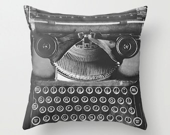 Vintage Typewriter Pillow Case Library Reading Room authors gift Throw Pillow Cover 16x16 18x18 20x20