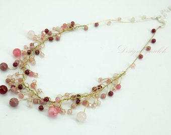 Rose quartz,carnelian,crystal hand knotted on silk thread necklace