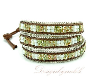 Green and white crystal 3 time wrap bracelet.