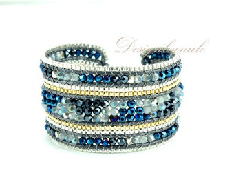 Sapphire crystal box chain wrap bracelet.