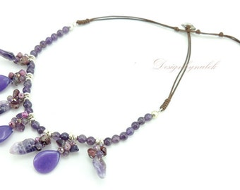 Amethyst,freshwater pearl on cotton thread  necklace.