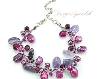Purple amethyst,freshwater pearl,crystal on silk bracelet.