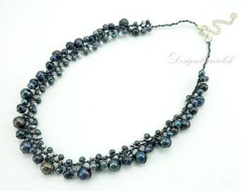 Dark grey freshwater,silver beads on silk necklace.