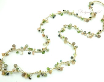 Peridot,jasper,hematite long necklace.