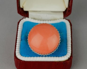 Appealing 1960 jumbo sized natural salmon coral and diamond ring
