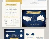 Destination wedding invitation Map Style Wedding Invitation Two Hearts  RSVP bilingual wedding invitation - Navy Faux-gold Blue Gold