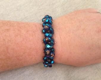 Vintage Silvertone and Navy Blue Beaded Stretch Bracelet