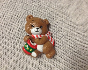 Vintage RUSS Teddy Bear with Drum and Scarf Pin/Brooch