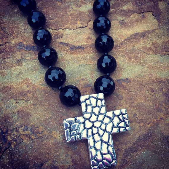 Onyx and Sterling Silver Cross Statement Necklace