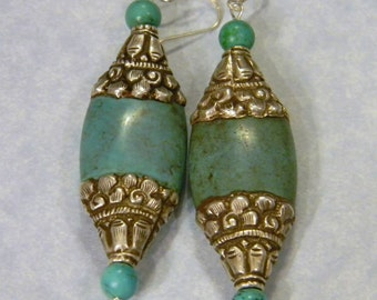 Green Turquoise and Tibetan Silver Drop Earrings